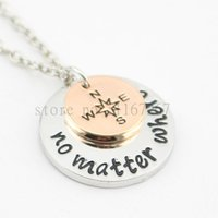 "Wholesale Long Best Friend Necklaces - Wholesale-2015 new arrive Hand Stamped""no matter where "" Necklace compass Best Friends Necklace Long Distance Relationship Necklace"