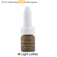Wholesale Professional Coffee - Wholesale- Golden Rose Professional Eyebrow Tattoo Ink Lips Permanent Makeup Pigment Light Coffee Paint 10ML 3 Pieces lot Mixed Colors