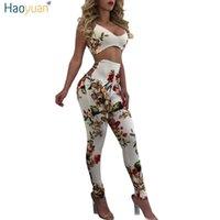 Wholesale Sexy Elastic Jumpsuits - Wholesale- HAOYUAN Elastic Sexy Jumpsuit Ladies Backless Full Bodysuits Deep-V Floral Bodycon Combinaison Femme Rompers Womens Jumpsuit