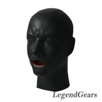 Wholesale mask human - Wholesale- Free Shipping! New Arrival Hot 3D Latex Human Mask Hood Closed Eyes Fetish Hood Red Mouth Sheath Tongue Nose Tube