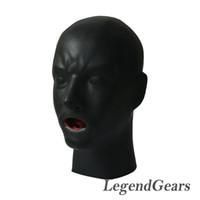 Wholesale Full Latex Hood - Wholesale- Free Shipping! New Arrival Hot 3D Latex Human Mask Hood Closed Eyes Fetish Hood Red Mouth Sheath Tongue Nose Tube