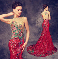 Wholesale Chinese Cheongsams - 2016 Luxury Trailing Long Cheongsams Sequins Embroidery Backless Qipao Robe Orientale Chinese Tradition Wedding Dress