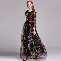 2019 Women's O Neck 3 4 Sleeves Floral Embroidery Layered Elegant Party Prom Long Runway Dresses