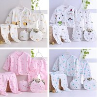 Wholesale 5pcs set Cartoon Newborn Baby Clothes set infant cotton Summer spring Fall suit outfit Baby Kids Clothing set M