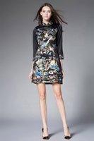 Wholesale Dress Improvement - European Station Women 's 2016 autumn and winter Chinese style improvement collar vertical and horizontal long - sleeved dress MLSJ010