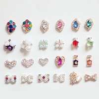 Wholesale Diamond Glitter Nail Art - Mix Fashion Style Nail Stickers Nail Art 3D Alloy Metal Crystal Decoration Diamond Cellphone Rhinestone Glitter Charms Jewelry