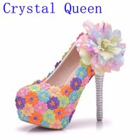 Wholesale Wholesale Wedding Prom Dresses - Crystal Queen Handmade Women Wedding Shoes Round Colorful Lace Flowers High Heel Elegant Bridal Dress Shoes Prom Pumps