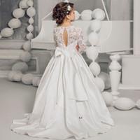 Wholesale First Knot - 3 4 Sleeve First Communion Dress For Girls Cheap 2017 White Lace Wedding Flower Girls Dress Bow Knot Floor Length Satin Kids Wear