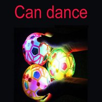 Wholesale Kids Jump Ball - Wholesale- LED Light Jumping Ball Kids Crazy Music Football bouncing ball dance ball football Children's Funny Toy Random Color 10.5CM