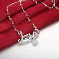 Lady Charm Simple LOVE Zircone a forma di cuore Collana Pendente Girl San Valentino Regalo Exquisite Crystal Love Collana Bride Engagement Jewel