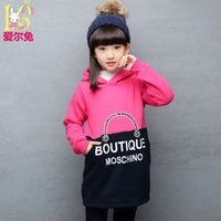 Wholesale Pullover Child Female - Wholesale- Children's clothing female child 2016 autumn child clothes big boy pullover top baby girl long plus velvet sweatshirt design