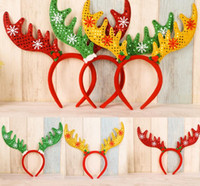 Wholesale Reindeer Antlers Wholesale - 2016 Christmas Day Cute Antlers deer Headband Adult Snowflake Gift Hair Hoop reindeer Children Headdress Party Accessories