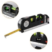 Wholesale Laser Cross - Multifunction Laser Level Aligner Horizontal Vertical Cross Line Measure 8ft   2.5m Tape Ruler Standard Metric Ruler BI726-SZ