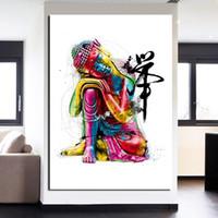 pinturas de buda para sala de estar venda por atacado-1 Peças Aquarela Chan Meditação Buda Arte Da Parede Da Lona Fotos Para Sala de estar Ainda Vida Home Decor Canvas Pinturas A Óleo