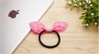 Wholesale Asian Red Fabric - Sweet and lovely style rabbit ears hair bands Bow hair bands 4 mm high elasticity mixed colors 500pcs lot drop free shipping wholesale