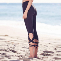 Wholesale Yoga Pants Dancing Hot - Sexy Women Hot Leggings Yoga Pants Tights Leggings Ballet Spirit Bandage Cross-line Elastic Waist Sportswear Fitness Dance Sports Trousers