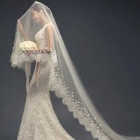 Wholesale Soft Lace Long Veils - 2017 New Fashion Lace Applique 300CM Long One Layer Wedding Bridal Veils With Lace Edge High Quality Soft Tulle Bridal Accessories