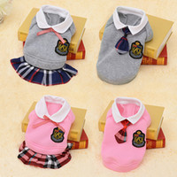 Wholesale Cute Plaid Shirts - School Style Pet Dog Clothes Cute Chihuahua Coat Costume Puppy Outfit For Small Dog Clothes Spring Clothing Pet Shirt Dress 40S1