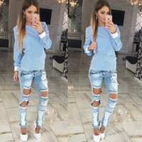 Wholesale Sexy Ladies Appeal - 2017 Spring Women Shirts Sexy Striped Backless Bowknot Hollow Shirts Fashion Plus Sizes Women Appeal Ladies Tops Clothes