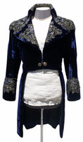Wholesale Navy Costumes For Men - 2017 Jareth the Goblin King Navy Blue Velvet Halloween Costume For Men Rhinestones Party Suit Jackets Appliques Tailcoats Blazer