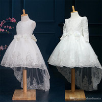 Wholesale Tutu Embroidery - Elegant Noble Baby Girl Cute Asymmetric Lace Rose Solid Mesh Long Tail Flower Girl Dress Sequins Tutu Wedding Party Trailing Ball Gown