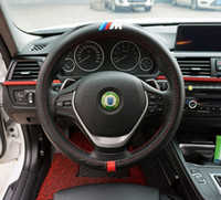 Wholesale Free Wheel Racing Car - 1pcs black M performance power racing Carbon fiber Sport Car Steering Wheel Cover With Size M 38cm free shipping for BMW