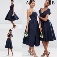 Wholesale Tea Length Bridesmaid Dress Blue - Vintage 2018 Navy Blue Off the Shoulder Bridesmaid Dresses Tea Length Satin Bridesmaid Prom Gowns Wedding Party Vestidos