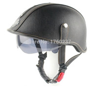 visor de capacete scooter venda por atacado-New Retro Capacete Da Motocicleta De Couro Scooter Hlaf Rosto Capacete Com Inner Sun Viseira Óculos Preto Para Harley Rider