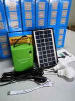 Wholesale Led Solar Panel 3w - KLMALL Domestic Solar Power Generator with LED Lamp and Multi Function Mobile Phone Charging Cable Solar Panel=3W--DC Output 6V,3A