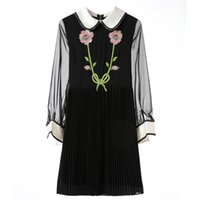Wholesale Mini Mesh Flowers - Runway Style Women Autumn Dress 2017 Fall Fashion Brand Designer Tiger Flowers Luxury Sequined Embroidery Collar Long Mesh Sleeve Dress