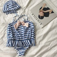 Wholesale Girls Navy Stripe Suits - Girls siamese swimsuit with hat 2pcs children cute bows stripe falbala princess swimwear navy sytle kids spa beach Bathing Suit T2625