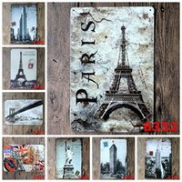 Paris Torre Eiffel Estátua da Liberdade Londres Vintage Craft Tin Sign Retro Metal Poster Bar Pub Signs Wall Art Sticker (Mixed designs)