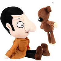 Wholesale Doll Beans - 2PCS Mr. Bean 40cm & His Teddy Bear 28CM Set Plush Toy Soft Stuffed Kids Toys Dolls For Children Gift