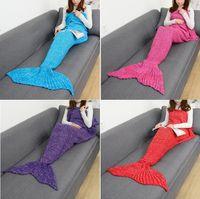 Wholesale Wholesale Women Bag Europe - 10pcs Lot Adult Blankets Mermaid Blankets Tail Fish Blankets Women Sleeping Bag Bedding Warm Soft Handmade Knitted Sofa Blanket 4624