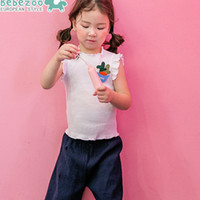 Wholesale Korean Casual Pants Cotton - Summer Korean Toddler Girls Outfits Sets Cartoon Brooch Tank Tops + Shorts Half Pants 2pcs Set Suits Casual Girl Kids Outwear Sets A6712