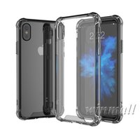 ingrosso telaio paraurti posteriore-Per iPhone X Shockproof Acrylic Hybrid Bumper Soft TPU Frame Back PC Hard Case Cover trasparente per iPhone 9 XR XS Max SAMSUNG S9