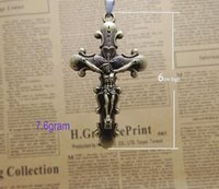 Wholesale Stainless Steel Neck Chains - Supply popular Crucifixion of Jesus pendant necklaces men's jewelry women neck necklace Black wax rope chain free shipping