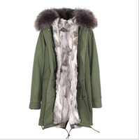 ingrosso signore parka verde-JAZZEVAR Marca Ladies snow army green giacche di tela grigio bianco Erba coniglio fodera in pelliccia lungo parka Germania Norvegia