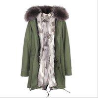 senhoras parka verde venda por atacado-JAZZEVAR Marca Senhoras exército de neve verde jaquetas de lona cinza branco Grama forro de pele de coelho longo parka Alemanha Noruega