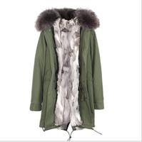 bayanlar yeşil parka toptan satış-JAZZEVAR Marka Bayanlar kar ordu yeşil tuval ceketler gri beyaz Çim tavşan kürk astarlı uzun parka Almanya Norveç