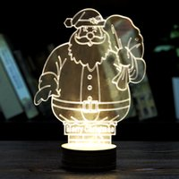 Wholesale Wholesale Christmas Novelty Items - 2016 Fashion 3D Transparent Christmas Old Man Small Night Light Novelty Items Small Desk Light Home Decorations 02