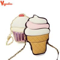 Wholesale Cute Women Nudes - Yogodlns New Cute Cartoon Women Ice cream Cupcake Mini Bags PU Leather Small Chain Clutch Crossbody Girl Shoulder Messenger bag
