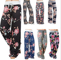Wholesale Plus Size Palazzo Pants - 7 designs ladies floral yoga palazzo trousers womens wummer wide leg pants plus size M100