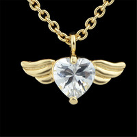 Wholesale Create Charm Necklace - White Created Crystal Heart Design Romantic Wing Shape Necklace Charms Pendant Necklace For Fashion Women Fashion Style