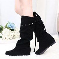 Wholesale Rubber Boots Girl 31 - Wholesale-Girl New Fashion Height Increasing Knight Boots Women Brand Round Toe Martin Boots Lady Flock Lace Up Mid Calf Shoes 5 Styles 31