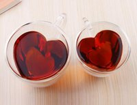 Wholesale transparent tea cups - New 240 180ml Heart Love Shaped Double Wall Layer Transparent Glass Tea Cup Lover Coffee Mug Gift