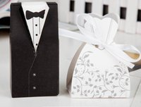 Wholesale Tuxedo Favour Boxes - Wedding Candy Box 100pcs Party Wedding Favor Dress Tuxedo Bride and Candy Box Wedding Favours Candy Sweets Party Gift Boxes Bags Ribbons