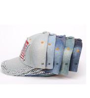 Wholesale Wholesale Panel Hats - Women baseball caps Summer 4th of July American Flag Hat Cowboy Fashion Rhinestone denim Cap 6 Panels Snapback Leisure Sun Hat