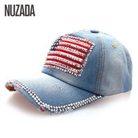 Оптовые бренды NUZADA Denim Women Baseball Cap Girls Женские стразы Hip Hop Hats Caps Snapback Bone Американский флаг Хлопок szm-053