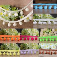 Wholesale Craft Braids - 20 yards 10mm Ball Pom Pom Bobble Trim Braid Fringe Ribbon Edging Craft Decoration 20 Colors to choose